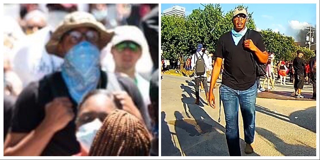 Recognize these men? The one in the light blue bandana sprayed an unknown chemical on law enforcement officers during riots on May 30. That same day, the man with the black bandana threw a brick, hitting a woman in the face, seriously hurting her. Call 576-3000 with any info. https://t.co/D5ugQ33a9U