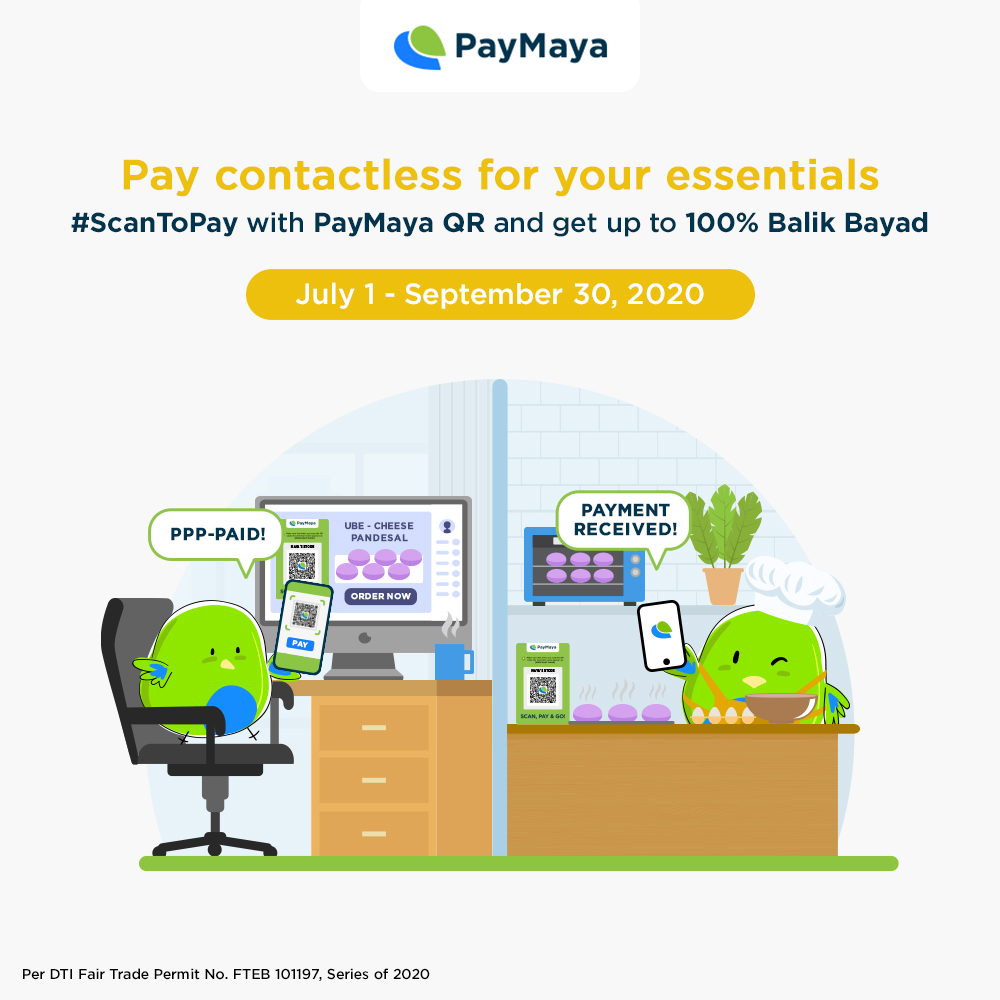 Pay contactless for food and other essentials using PayMaya QR!​  ​Enjoy 1%, 10%, or 100% Balik Bayad when you #ScanToPay at our partner QR merchants, whether online or in physical stores!  Maximum reward of P500 per month. No minimum spend required. https://t.co/JnF9dVns8s