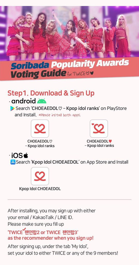 Twice Global On Twitter Choeaedol Voting This Is An Updated Version Of The Guide For The Choeaedol App Please Read It Through And Let S Work Hard On Collecting Hearts Throughout The Voting