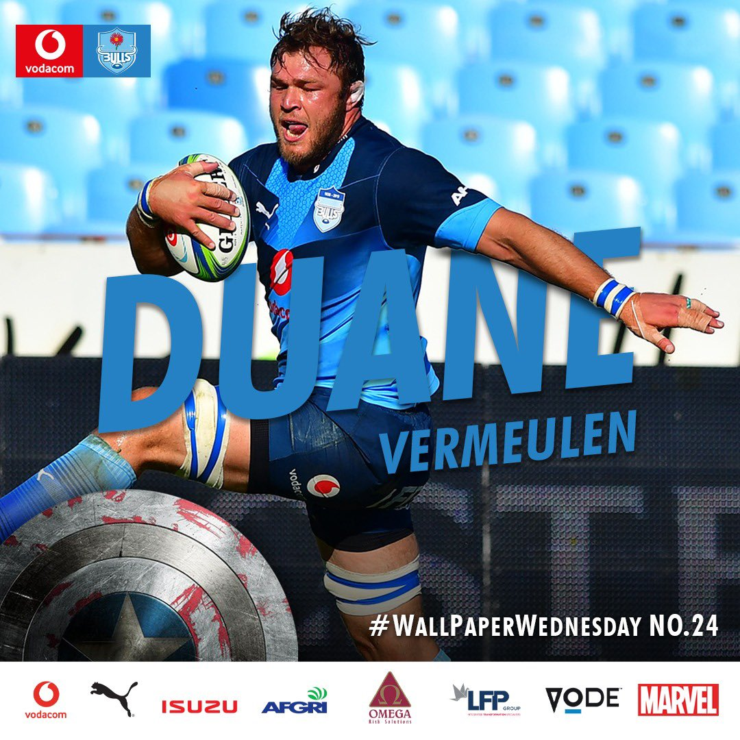 The man nicknamed Thor 💪 Duane Vermeulen is an absolute beast and a legend on and off the field 🔥 That's why he's today's #WallpaperWednesday 🙌 Collect them all! #BullsFamily Vodacom #SuperRugby #rugby