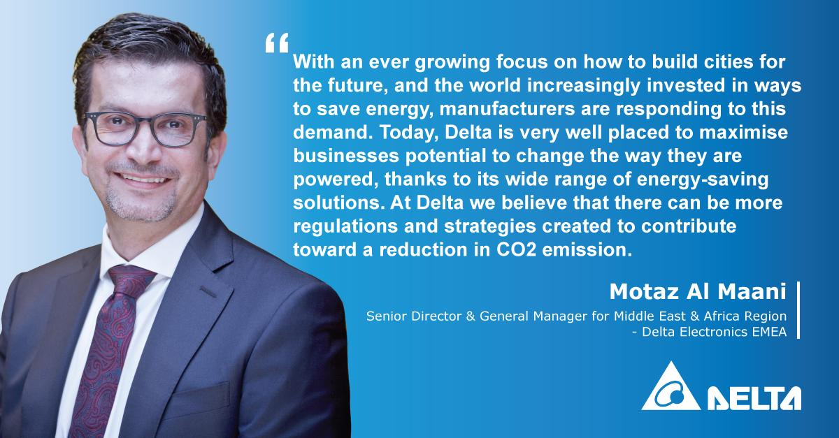 The Future is greener according to #intajmembers: #Delta_Electronics Senior Director and General manager for Middle East and Africa region Mr. @motazmaani #saveenergy #energysaving #co2reduction #future @DeltaEMEA