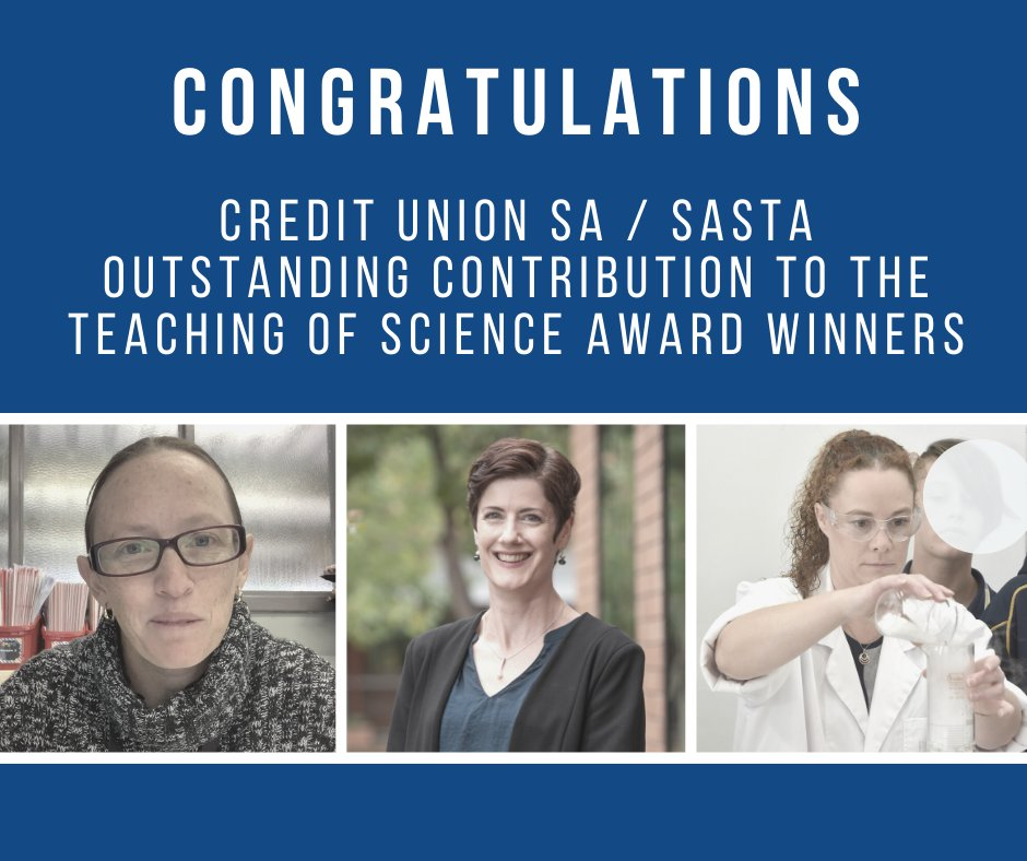 Congratulations to our @CreditUnionSA / SASTA Outstanding Contribution to the Teaching of Science Award winners!  Primary - Jade Tinney, Salisbury Park PS Middle years - Samantha Brown, Mount Gambier HS Senior Secondary - Catherine O'Halloran, Cabra Dominican College https://t.co/fqeS5lFRP2
