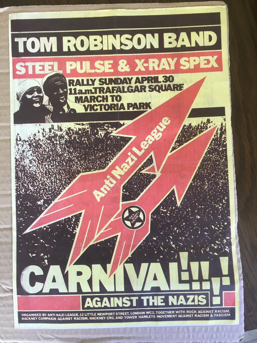 I've spent a small fortune on #xrayspex memorabilia over the years, but this is one of my favourite pieces. It's a flyer for the Rock Against Racism march and concert in 1978. I was only 7 at the time. I wish I'd been there! @PolyStyrenefilm @xrayspec @celestiebell @freshnet https://t.co/yydboCukUC