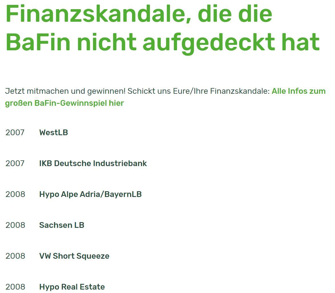 Diese schauderhafte Liste von Finanzskandalen sollte man dem #BaFin-Chef heute bei der Anhörung im Bundestag vorlegen: Bei meinem Gewinnspiel wurden schon 32 Finanzskandale eingereicht, die die #BaFin nicht aufgedeckt hat. #Wirecard https://t.co/9MmdeFGtAf https://t.co/T9hcu5hw0T