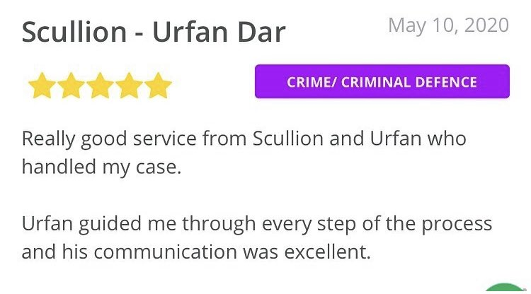 Re sharing this excellent review for our Solicitor Advocate Urfan Dar 📞 0141 374 2121 info@scullionlaw.com