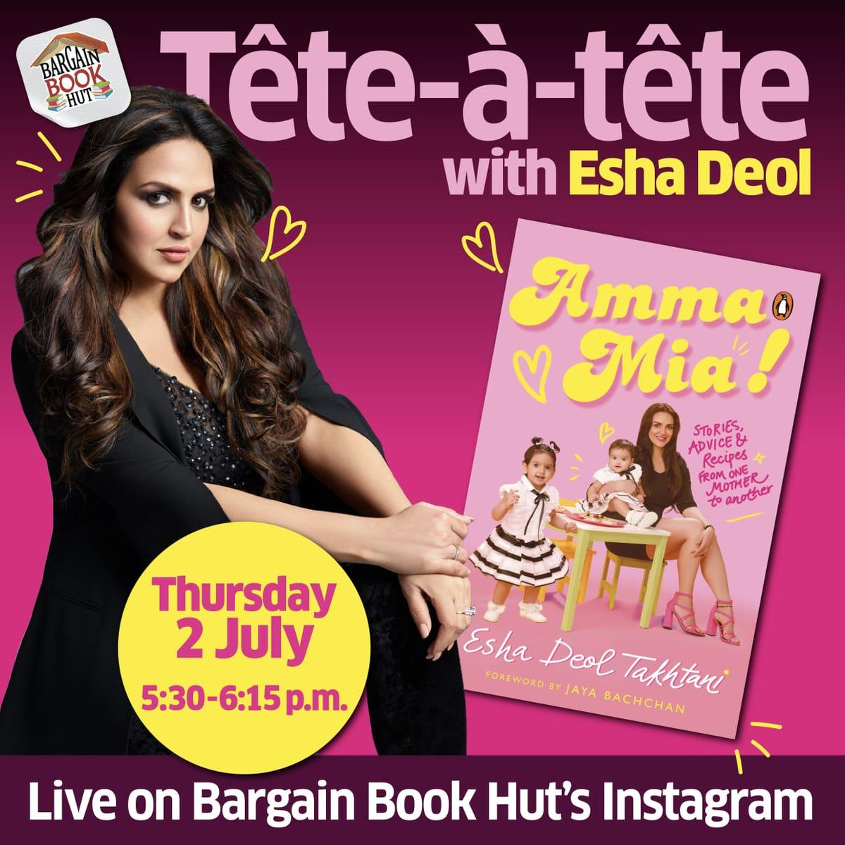 No matter how prepared you are, raising a toddler can be one hell of a ride! Tune in on Thursday, 2nd July, as @BargainBookHut speaks to @Esha_Deol on her adventures of motherhood, and the importance of food while raising two happy and healthy daughters #VivianaCares #VivianaMall https://t.co/U2aCyCJvua