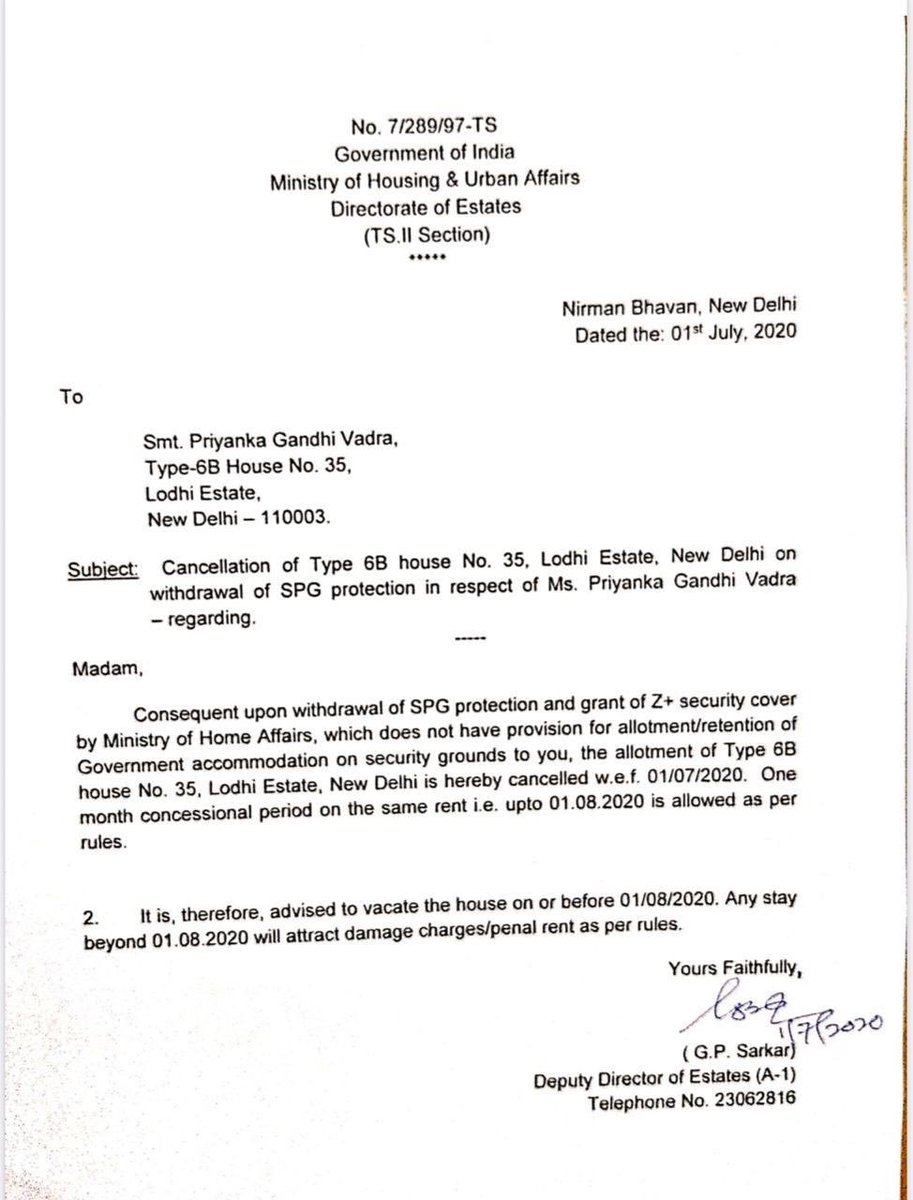 Priyanka Vadra asked to vacate Sarkari bungalow worth 100s of crores, she is using as private citizen since 1997
