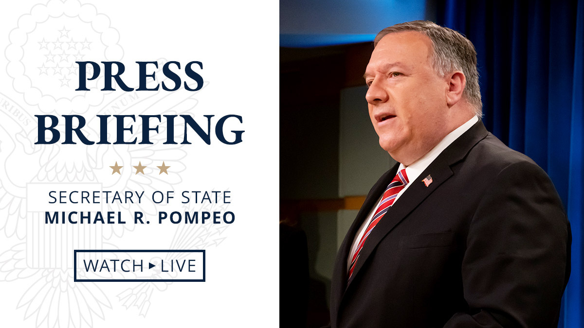 Today at 10:00 a.m. EDT, @SecPompeo will deliver remarks to the media. Watch live here on Twitter, https://t.co/gKqNu1rmLK, https://t.co/58Uc9lIgDz, and https://t.co/96IV7QeAlk. https://t.co/Y9o6gxly8c
