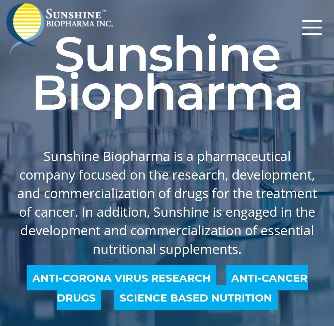 Sunshine Biopharma Inc. (SBFM) Stock Message Board - InvestorsHub