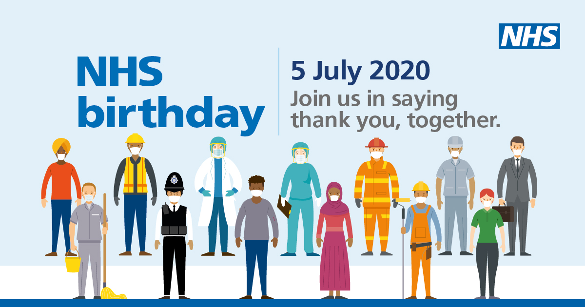 This Sunday (5 July) marks the 72nd anniversary of the NHS. To celebrate there will be the biggest, loudest final clap at 17:00 for carers and key workers. We hope you will join us in saying thank you to all our hardworking colleagues and all other key workers for all they do. https://t.co/wIFR506BuY