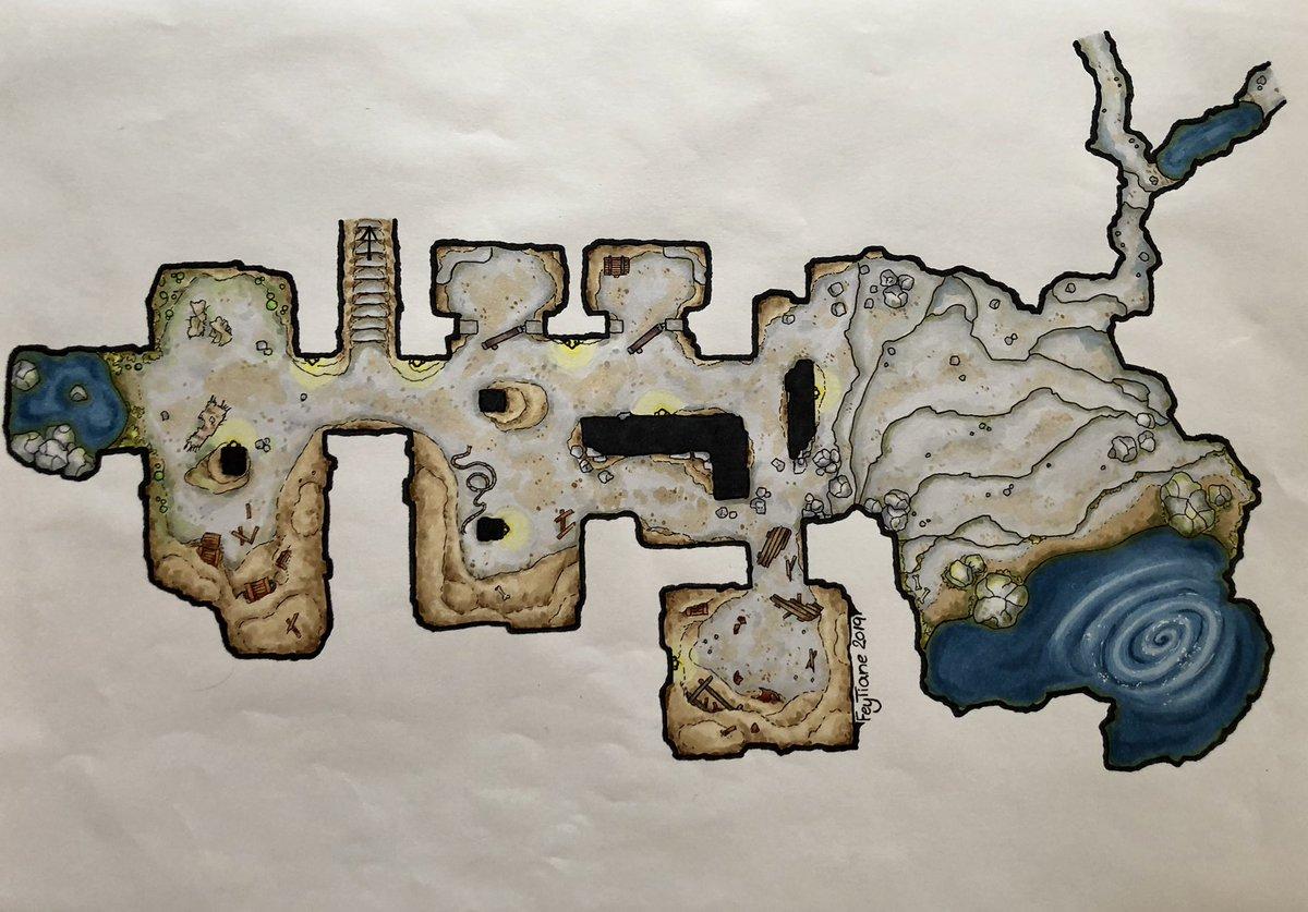 Diese Dungeon Karte habe ich letztes Jahr für ein inoffizielles #DasSchwarzeAuge Abenteuer gezeichnet. #pnpde #pnp #dungeonsanddragons #dungeonmap #RPG #rpgmap #battlemap #dsa #mapmaking #dnd #fantasyart #ArtistOnTwitter #copicmarkerspic.twitter.com/pAh0Y5DoW5  by FeyTiane