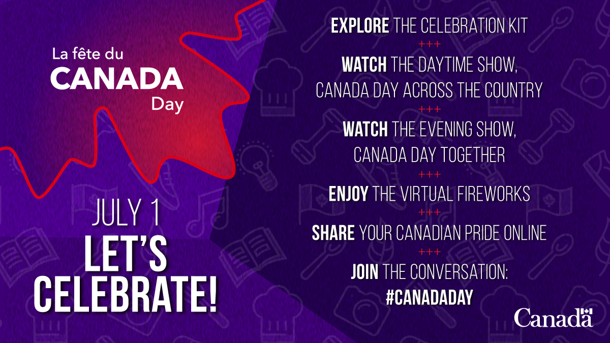 Find out how you can celebrate #VirtualCanadaDay in style!🇨🇦 From fun activities to iconic shows and virtual innovative fireworks, this year programming will be memorable.  Learn more ➡️ https://t.co/xdObwpkP7N https://t.co/VELqzbKr4k
