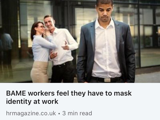 The mask of conformity means BAME workers can never be truly free to be themselves doing their best work.   I share my thoughts on what leadership & HR can do @hrmagazine @jogallacher  https://t.co/IMY7iypWE5   #diversity #inclusion #racism #discrimination #acceptance #bame https://t.co/Lc6ZZcAg9d