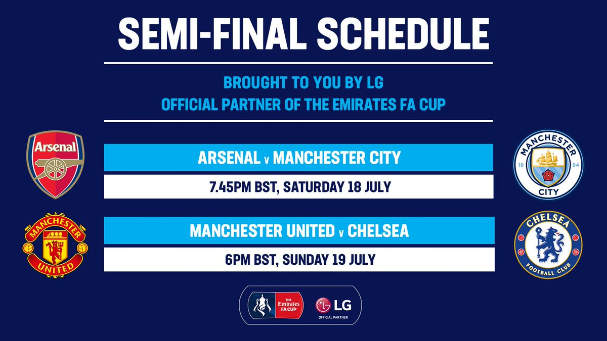 Your #EmiratesFACup semi-final dates revealed 👀 What team will you be supporting? 🙌