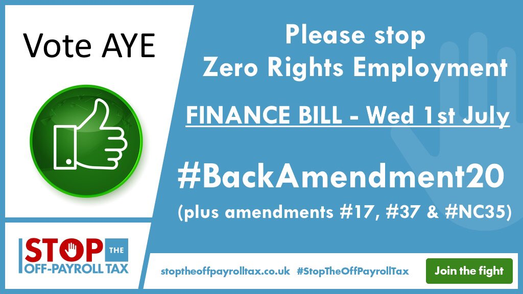 BREAKING: The @HouseofCommons Speaker has selected THREE #IR35 #OffPayroll amendments @from @DavidDavisMP @EdwardJDavey @alisonthewliss 👏🏼So we urge all MPs to stop #ZeroRightsEmployment and #BackAmendment20 & if voted on #Amdt17 #NC35 👍🏼 Tell YOUR MP to #StopTheOffPayrollTax 🛑