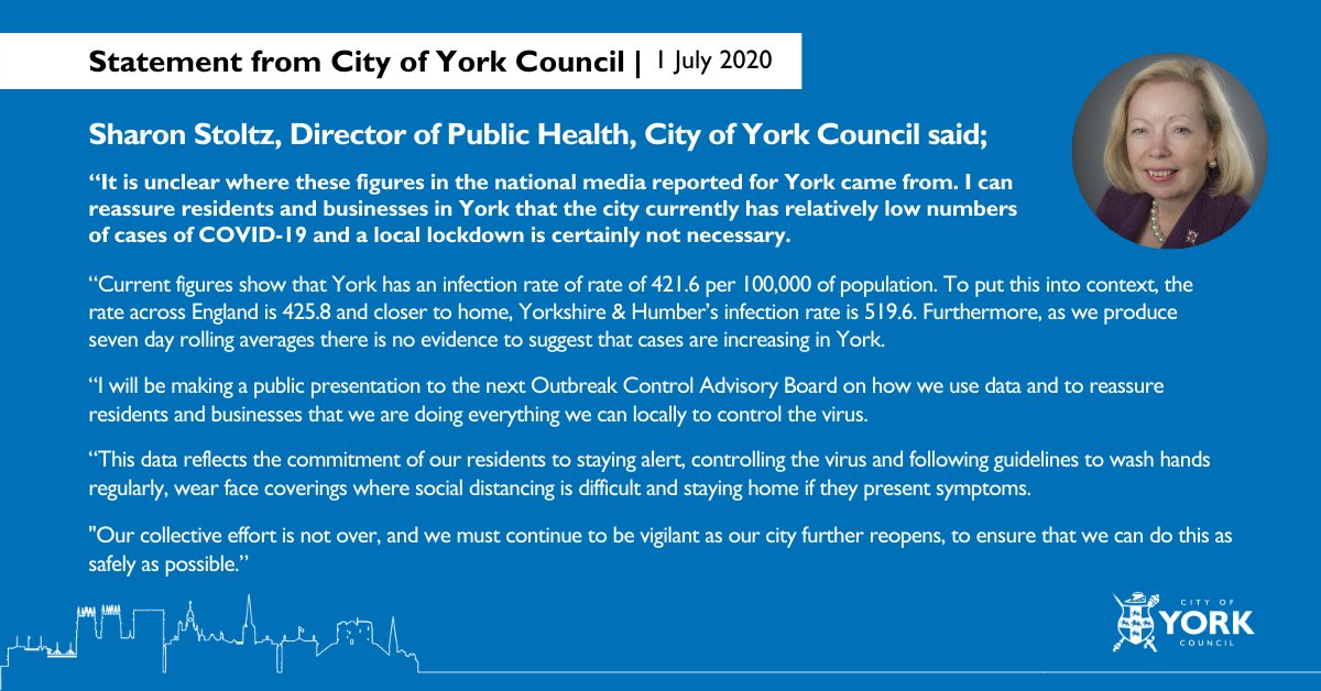 City Of York Council On Twitter Please Share York Currently Has Relatively Low Numbers Of Cases Of Covid 19 And A Local Lockdown Is Certainly Not Necessary Read The Full Statement From Director