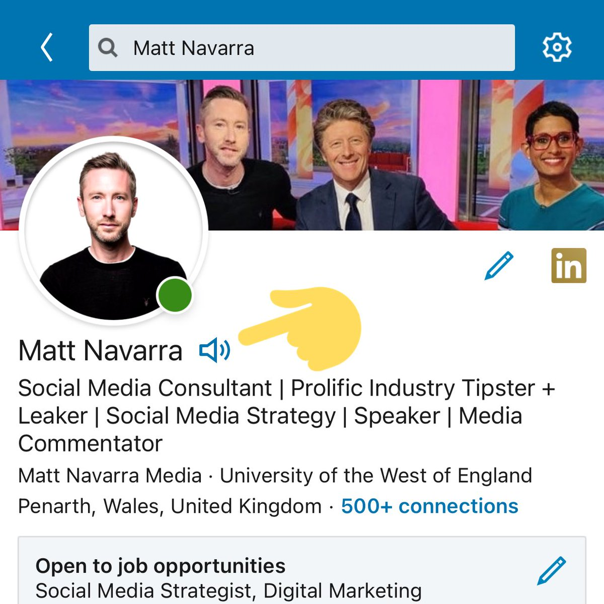 "Matt Navarra on Twitter: ""New! LinkedIn lets you add a voice"
