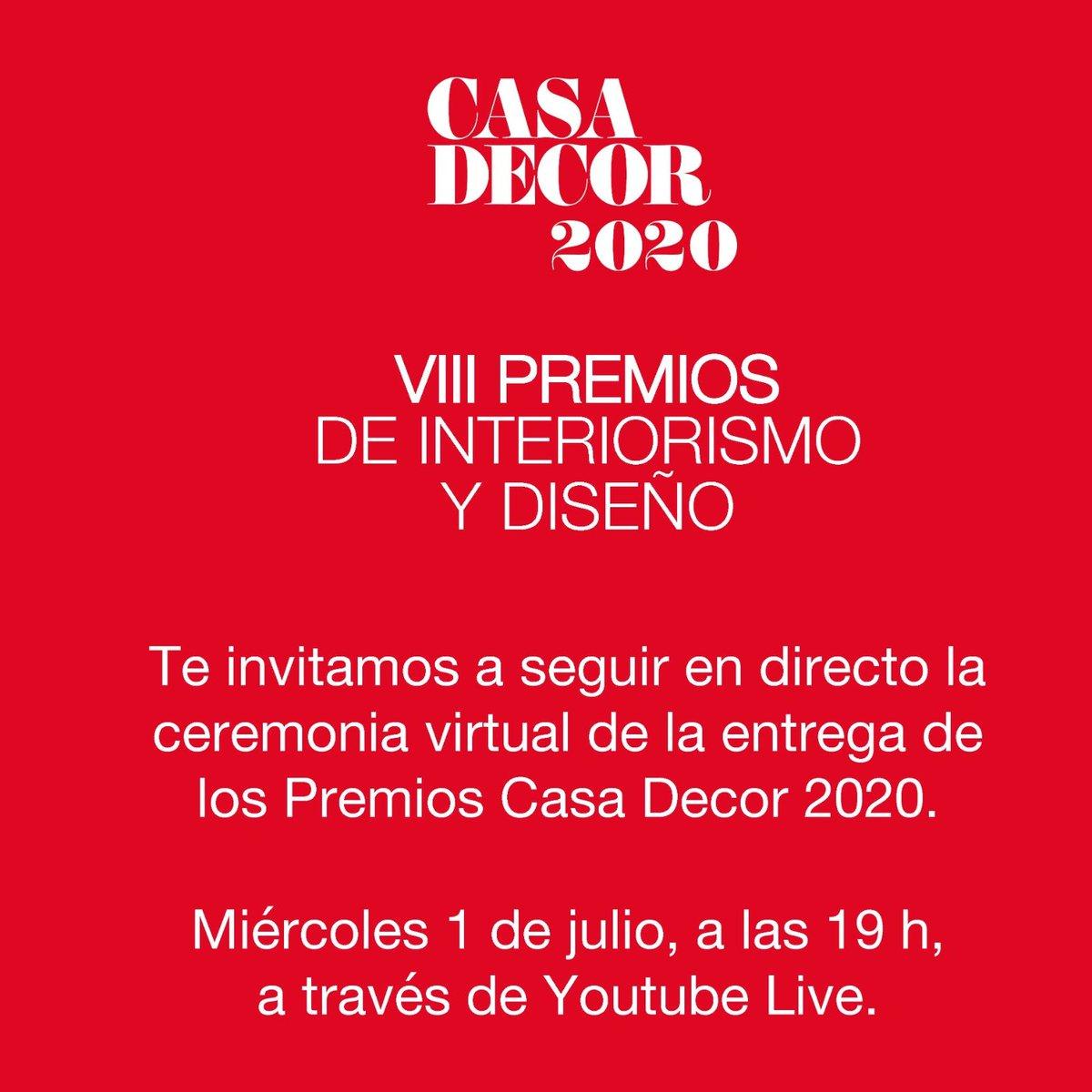 ¡Recuerda! Hoy a las 19:00 horas te esperamos en nuestro canal de Youtube para disfrutar de la ceremonia de los #PremiosCasaDecor2020 ¡No te los pierdas!  #CasaDecor2020 #Velázquez21 #CasaDecorSostenible https://t.co/ma4IO50D8w