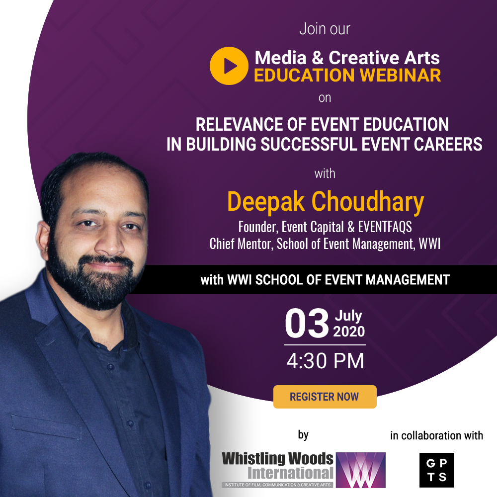 Register now and seek answers for all your career-prospect queries. Link - bit.ly/EventEducation @Gptsglobal #DoWhatYouLove #WWISchoolOfEventManagement #MediaAndCreativeArtsEducationWebinar