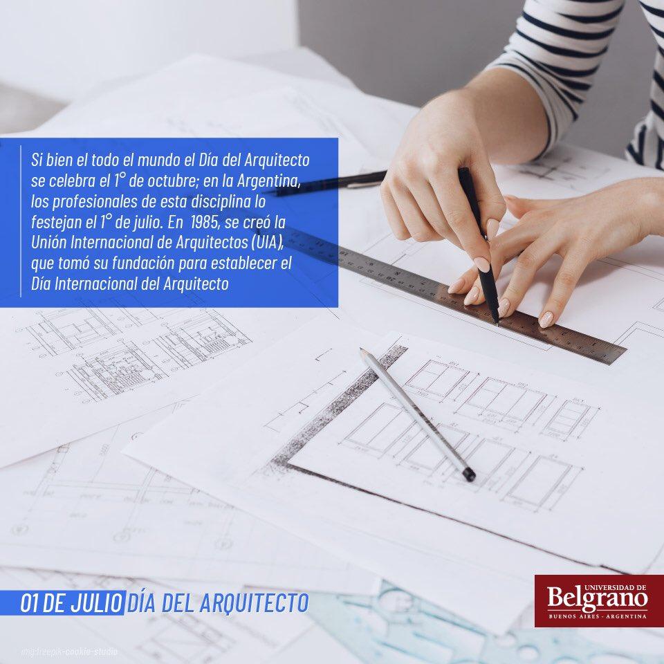 Hoy, 1 de #julio, se homenajea a los profesionales arquitectos en el Día del #Arquitecto en Argentina. Expresamos el #OrgulloUB para nuestros alumnos, profesores y graduados de la carrera. Feliz día ♥ https://t.co/EEzhfqNR22