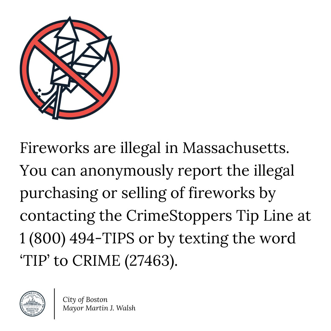 With the Fourth of July upon us, here's a friendly reminder that fireworks are not only dangerous, they're also illegal in Mass. Residents can't use, possess, or sell fireworks in Mass., or buy them legally elsewhere and then bring them into the state: https://t.co/TmM7rhY6pl https://t.co/nVranLApv0