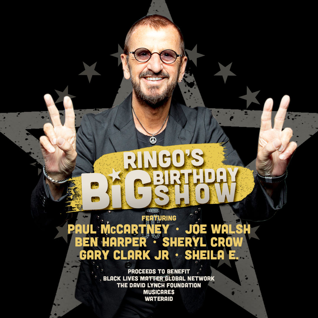 Tune-in today to celebrate @ringostarrmusic's 80th birthday with The Big Birthday Show - a benefit for Black Lives Matter Global Network, The David Lynch Foundation, MusiCares & WaterAid. Set a reminder here! https://t.co/ejNzToIlk4 https://t.co/2meTC8ONB7