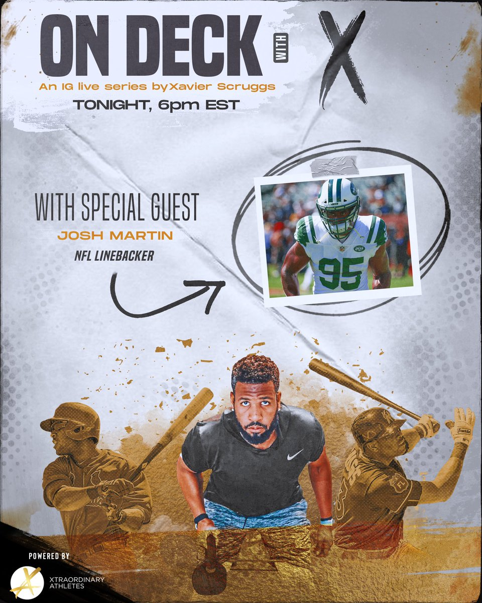 Oh yes!! I am super excited for this one! @NFL linebacker @joshmartin95 is coming through On Deck with X tonight at 6 PM Eastern. I can't wait to talk to him about the ends and outs of a football season as well as some current issues going on today. Don't miss this IG Live!!! https://t.co/r6h6esn37c
