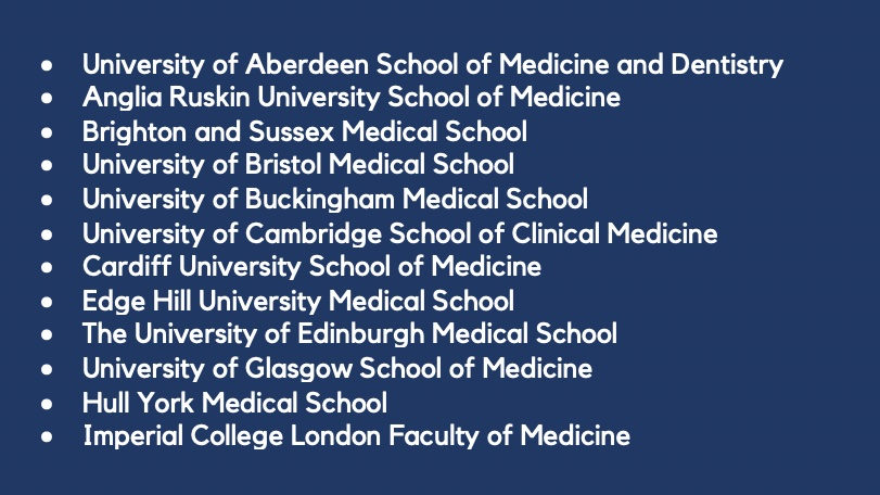 With open days cancelled many Year 12s will be making big life decisions with limited info 🩺 We want to post IGTV videos from med students from every single UK med school 🎬 We still need volunteers from 23 UK med schools, if you can help please DM us! If not, please RT☺️