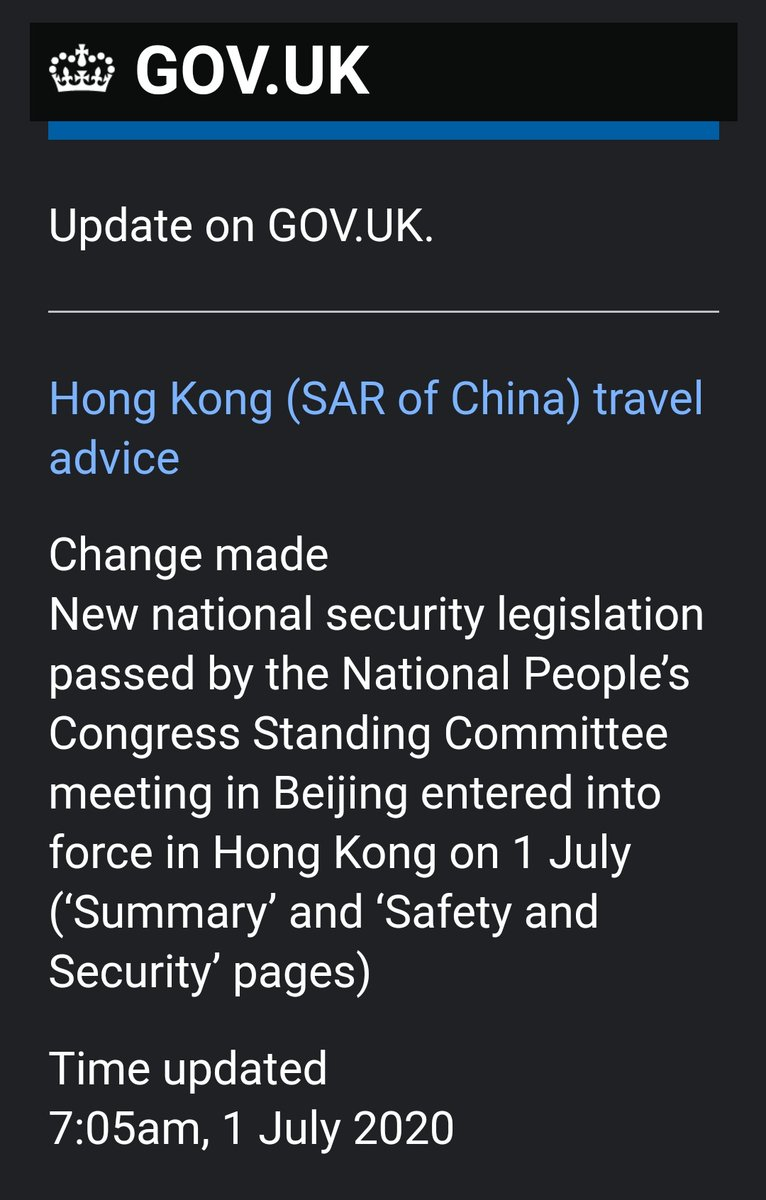 """The UK has updated its travel advisory to warn visitors of """"heightened tension"""" in light of the #NationalSecurityLegislation: """"Mainland authorities could under certain circumstances detain individuals under the terms of this law, with maximum penalty of life imprisonment."""" https://t.co/tAS2PEUJ6l"""