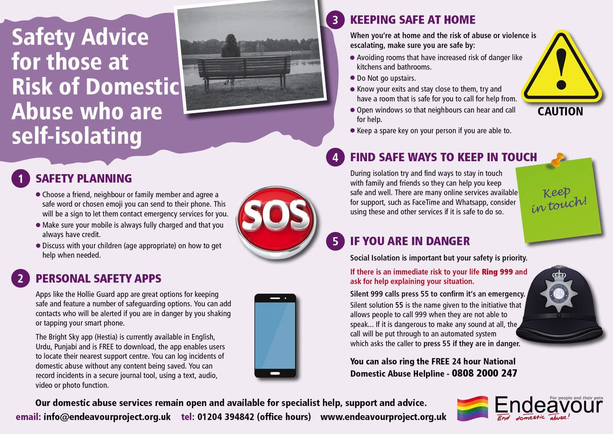 Safety advice for those at risk of domestic violence who are self-isolating https://t.co/1CIvtF9SBe