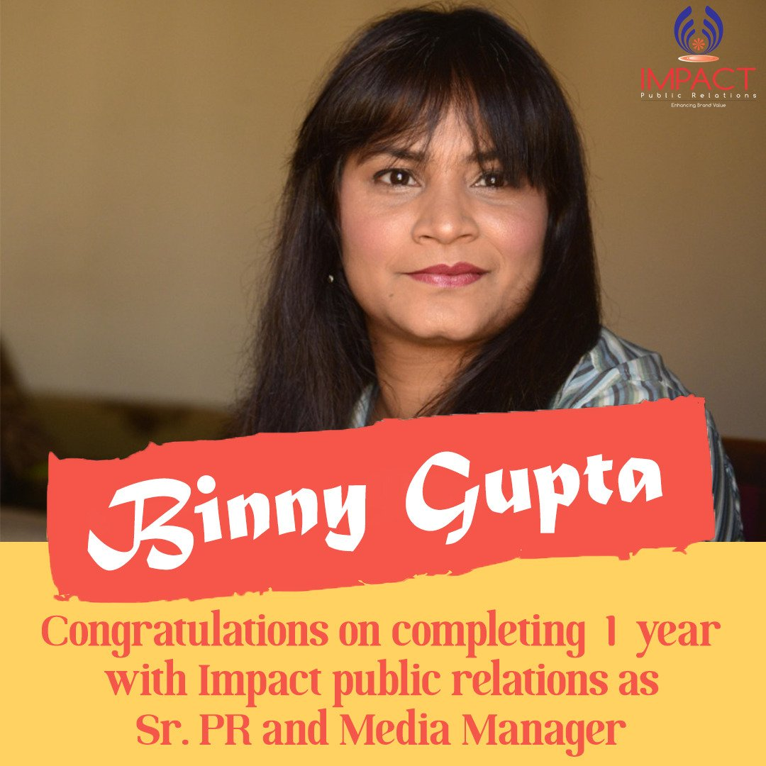 @GuptaBinny  #Kudos We want to take a moment to say #ThankYou  for Completing 1 year with @ImpactPR  Many more to go!!!!! #BuildingTheFutureTogether #WorkAnniversary #MediaManager #PR_Professionals #team #appreciation #ImpactPR<br>http://pic.twitter.com/fVeVv3XPn6