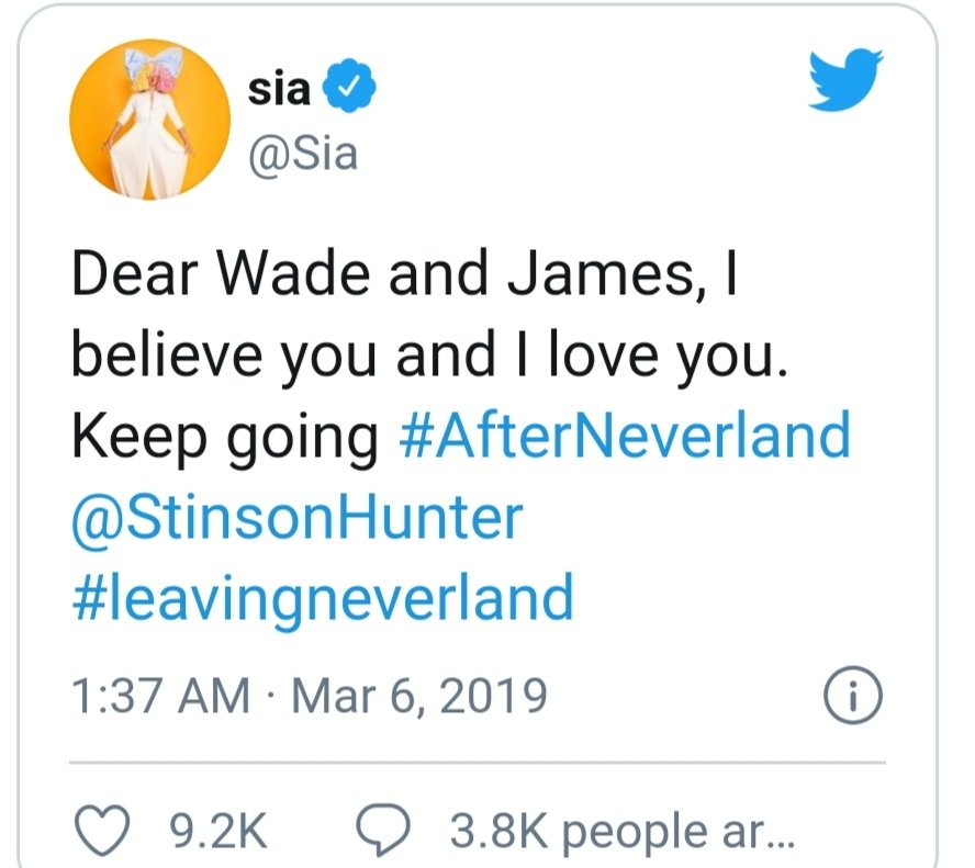 So apparently Sia loves everyone now - Wade Robson and James Safechuck and now even Paris Jackson.  What a hypocritical person she is.   #NeverForget  https:// twitter.com/Sia/status/127 8212607288074240   … <br>http://pic.twitter.com/tEdDI88tRc