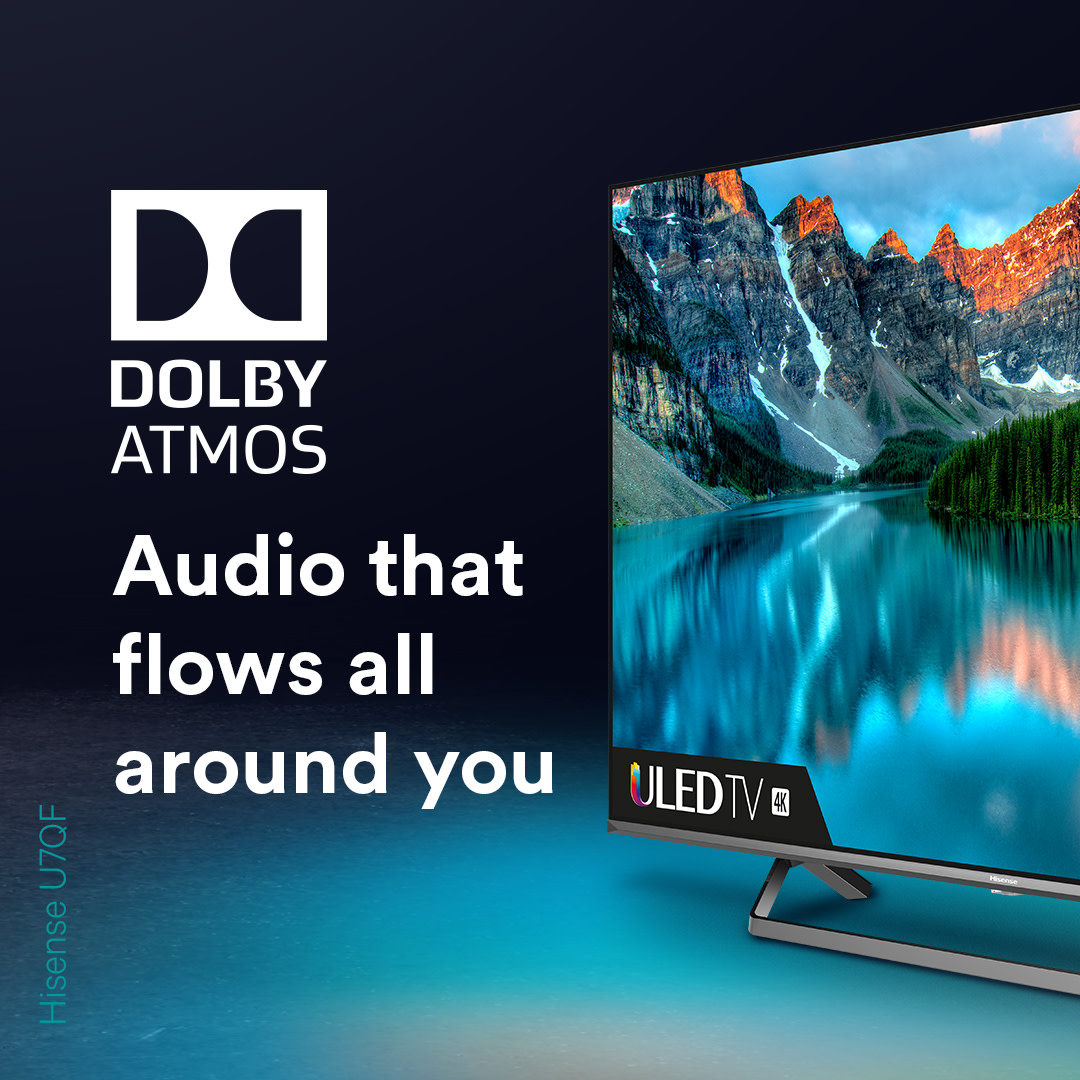 Say Hi to Dolby Atmos 👋    Experience immersive sound like no other 🔊  Check out the Hisense U7QF 👉 https://t.co/cZAZbffexA https://t.co/zdNMWs4yRa
