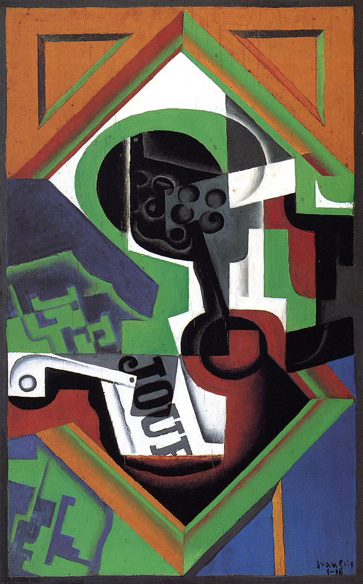 Pipe and Fruit Dish with Grapes, 1918 #spanishart #syntheticcubism <br>http://pic.twitter.com/bPApA6clcE