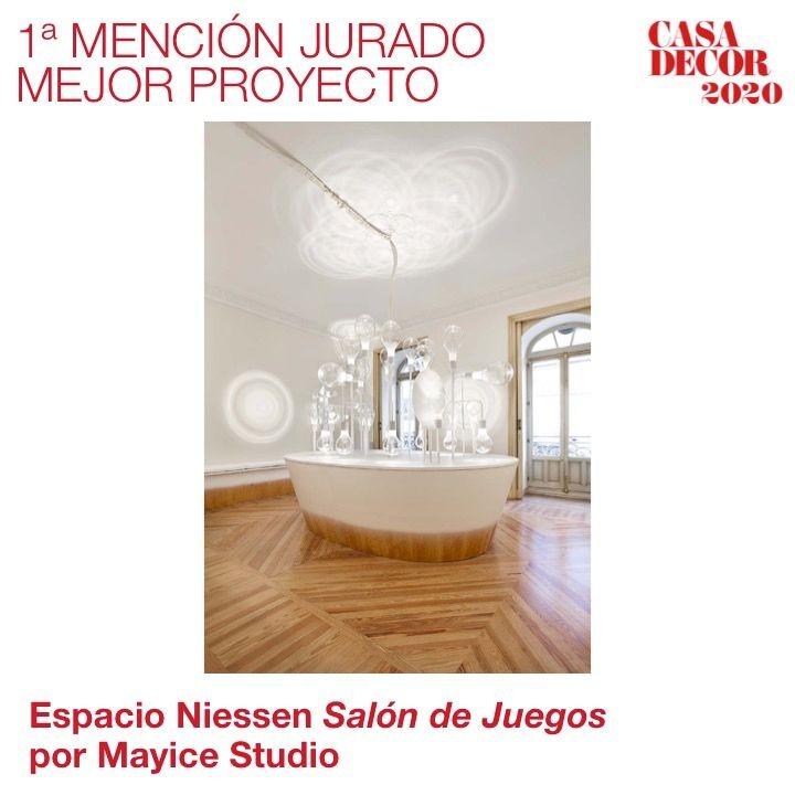 El espacio @Niessen_ES 'Salón de juegos' por @mayicestudio recibe la 1ª Mención del Jurado al Mejor Proyecto. ¡Felicidades! #CasaDecor2020 #CasaDecorSostenible #Velázquez21 #PremiosCasaDecor  En directo: https://t.co/KHvRRnN18G https://t.co/8uDnLJeV7C