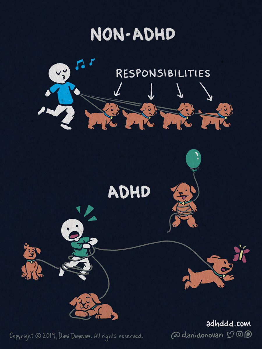 What analogies would you use to describe how it feels to have #ADHD?  Could be a comic idea, poetry, or a longer explanation.  I use them in a lot in my art, but I'd love to hear directly from #NeurodiverseSquad ❤️  (I'll be sure to give credit if I use your analogy in a comic!) https://t.co/2RwnqAtVNS