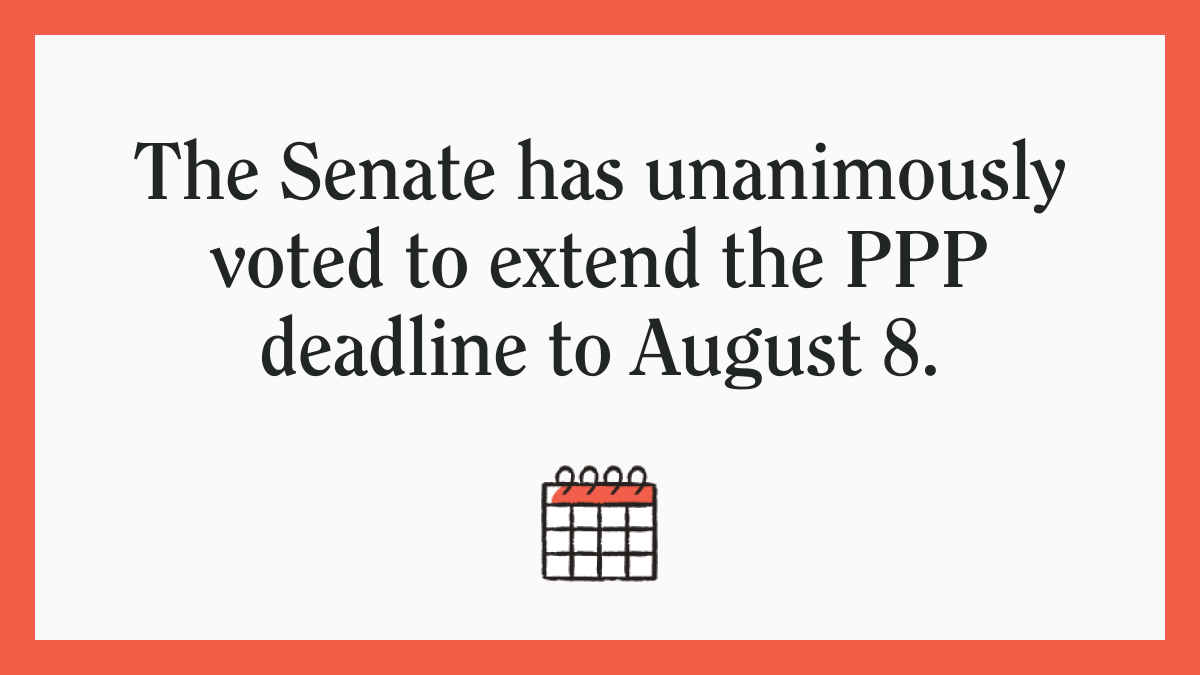 Last night, the Senate voted to extend the PPP application period.   The bill is now under consideration in the House: https://t.co/OayYC9AtXP   We'll update you as we learn more. #PPP #smallbiznews https://t.co/880HxeFCnf