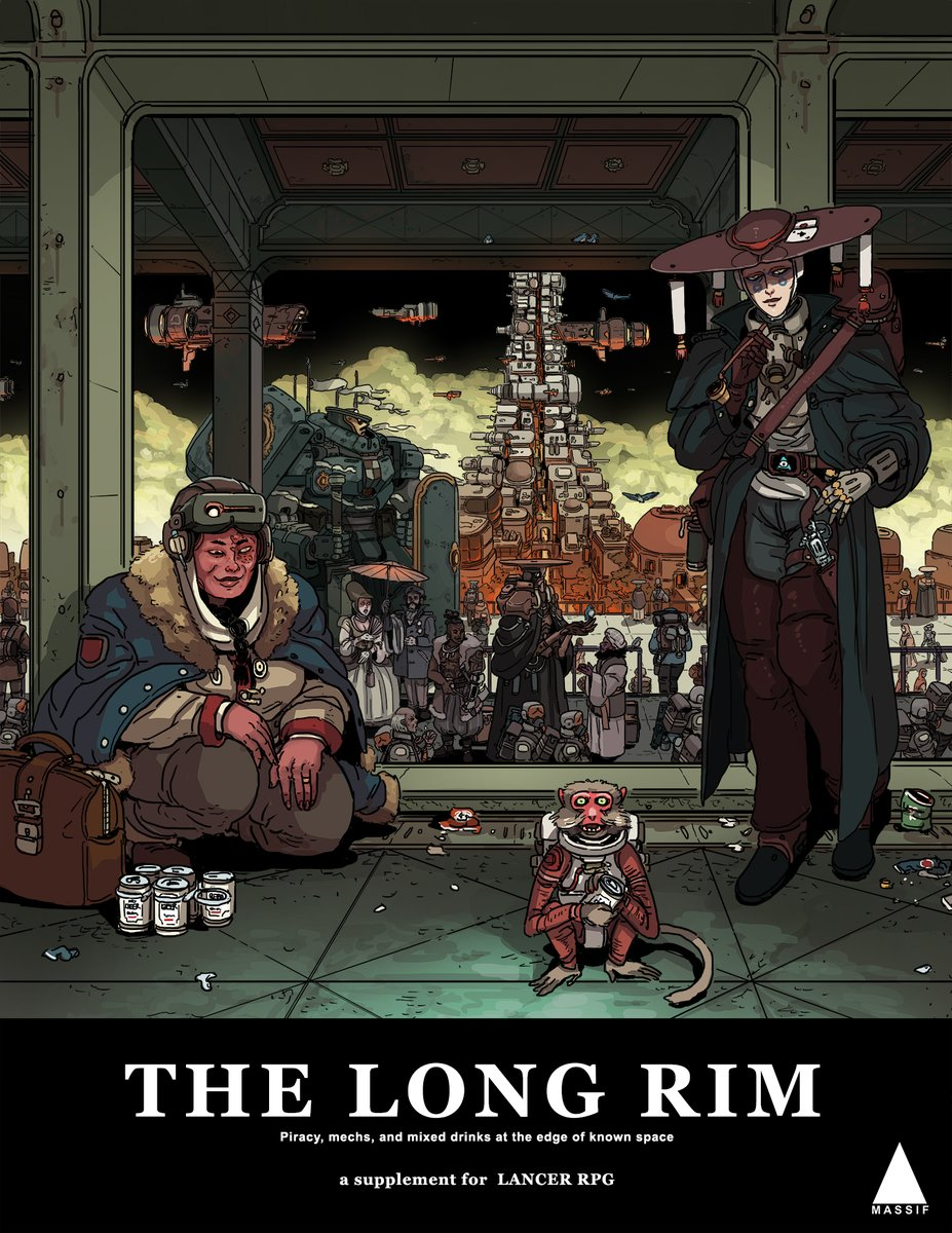 Very happy to announce that The Long Rim, our first official supplement for Lancer, is now officially released over at: massif-press.itch.io/the-long-rim. This frontier-focused supplement has all new mechs, talents, and tables for setting and characters alike. Check it out!