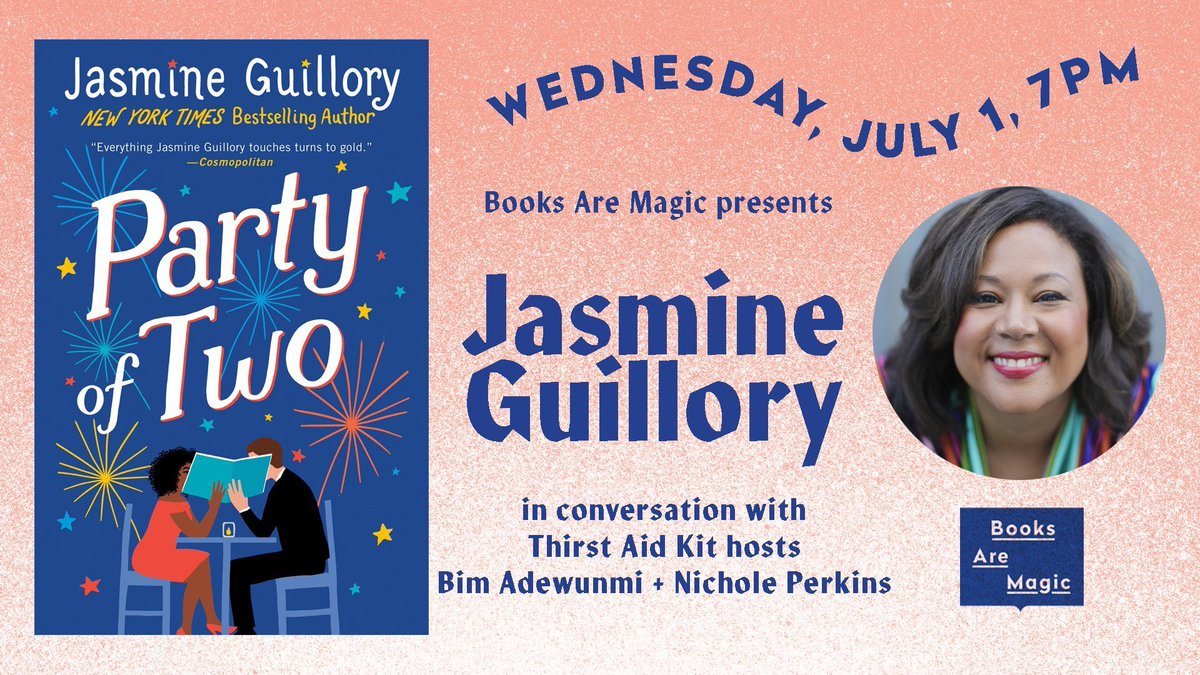Today @bimadew & @tnwhiskeywoman ✨ the @ThirstAidKit duo ✨ will be in conversation with @thebestjasmine via Zoom! Visit @booksaremagicbk for the deets. Her new book PARTY OF TWO is out 📖✨👏🏾💕 https://t.co/nOWLL7zPEA