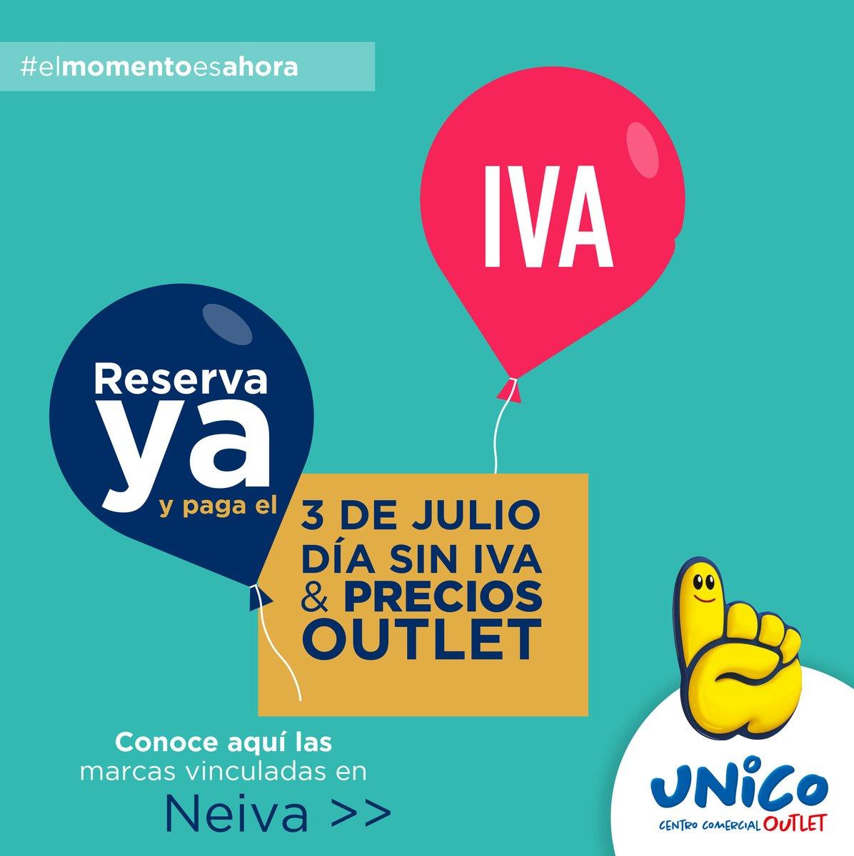 Reserva desde HOY todo lo que quieras comprar en tus tiendas favoritas de #UNICONeiva y realiza tus compras cómodo y tranquilo el 3 de julio, Día sin IVA🤩🥳  #ComprarloquequieroesUNICO☝🏼💛 También en https://t.co/QNYX0GNfWR 📲 #MegaOutlet #ElOutletDeColombia https://t.co/XGserpnMNS