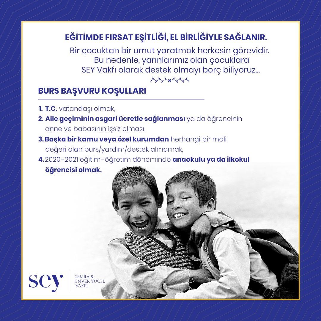 Haydi hayırlısıyla başlıyoruz! SEY Vakfı olarak, anaokul ve ilkokul çağındaki 20 çocuğumuza, ailesiyle birlikte belirleyeceğimiz okulda, tam burslu eğitim imkanı sağlıyoruz... #birçocuktanbirumutyaratmak #SEYVakfıgelecekbursu Başvuru için👉🏻 https://t.co/Nnz8MNwuM1 https://t.co/zmf6GyuvdC