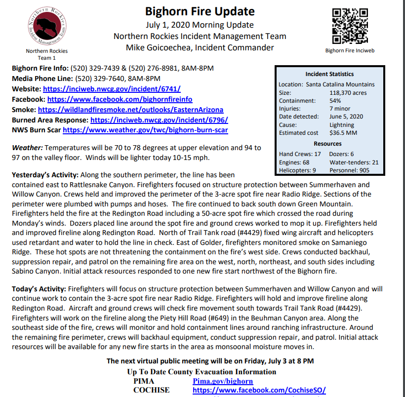 #BighornFire Morning Update 7/01/2020 Size: 118,370 acres Containment: 54% Map: bit.ly/3ecpVPX