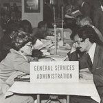A working session from a GSA conference focused on increasing government contracts with minority-owned and small businesses, circa 1976.  Explore GSA's modern resources for small businesses at https://t.co/q0ixG4iaGU.   @SBAgov
