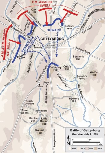Phase 2 of Day 1 of #Gettysburg begins in early afternoon. Union forces commanded by Howard hold a semi-circle position from West to North of the town. Confederate troops under Generals Ewell, Rodes, & Early launch a massive assault at the Union from the North  #TeamOO🌙 https://t.co/q2c0Jyf2fq