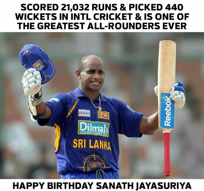 Join us in wishing Sanath Jayasuriya, a very happy birthday