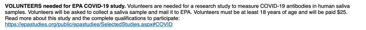 INBOX: Do you have COVID-19 antibodies? EPA will pay you $25 for your spit.
