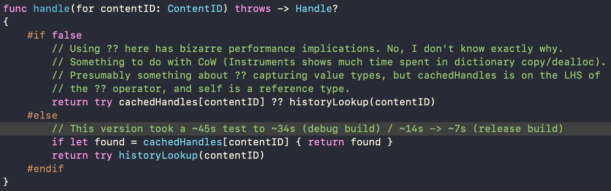 """Today in Adventures in Unusual #SwiftLang Optimisations: unexpected performance implications of the """"??"""" operator: <br>http://pic.twitter.com/PPUArOIR8T"""