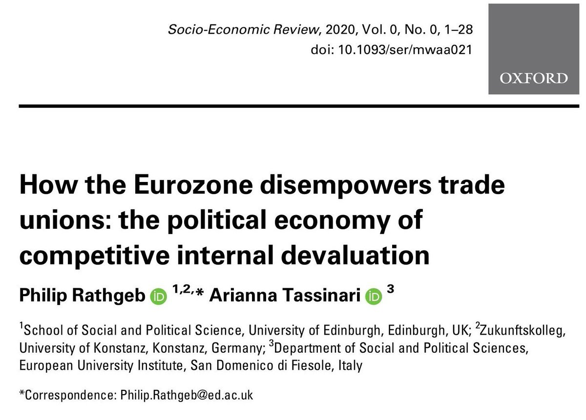Just published in SER (w/ @Ari_Tassinari)! Against the nationalist narrative that pits the South against the North, our article shows how the Eurozone links the fortunes of working people across national borders & core-periphery divide (open access!) doi.org/10.1093/ser/mw…