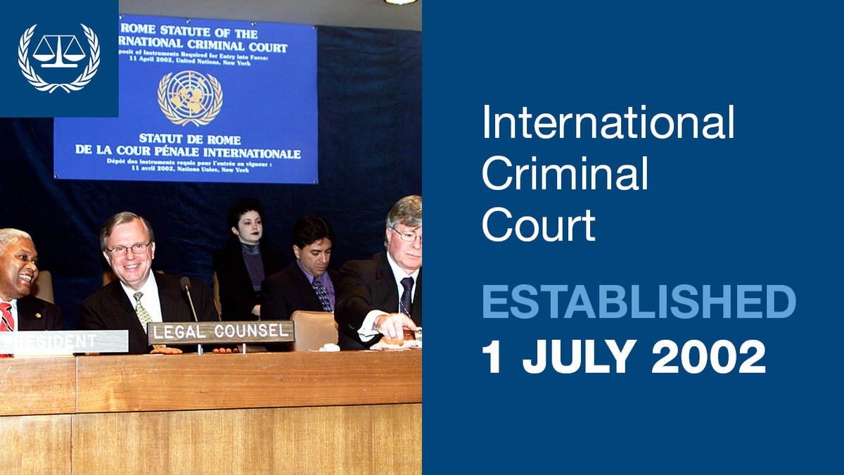 #OnThisDay in 2002, the #ICC was officially established. Over 60 States ratified the #RomeStatute, bringing the international treaty into effect and creating the Court.  Learn more ➡️https://t.co/zcU5R9nZjt https://t.co/nbBAdzDPTH