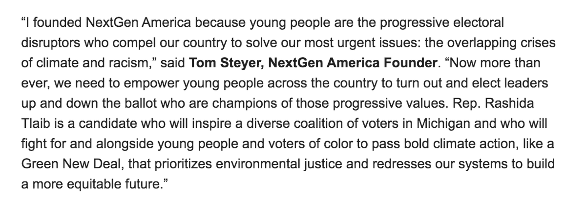 """Like our founder @TomSteyer says, @RashidaTlaib will """"fight for and alongside #youthvote and voters of color to pass bold climate action, like a #GreenNewDeal.""""  We need people like Rep. Tlaib to look out for young people in Congress, even when the going might be tough. https://t.co/cpAGyXu4Nv"""